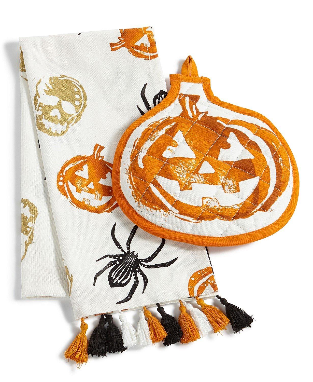 Martha Stewart Halloween Kitchen Towel and Oven Mitt 2-Piece Set