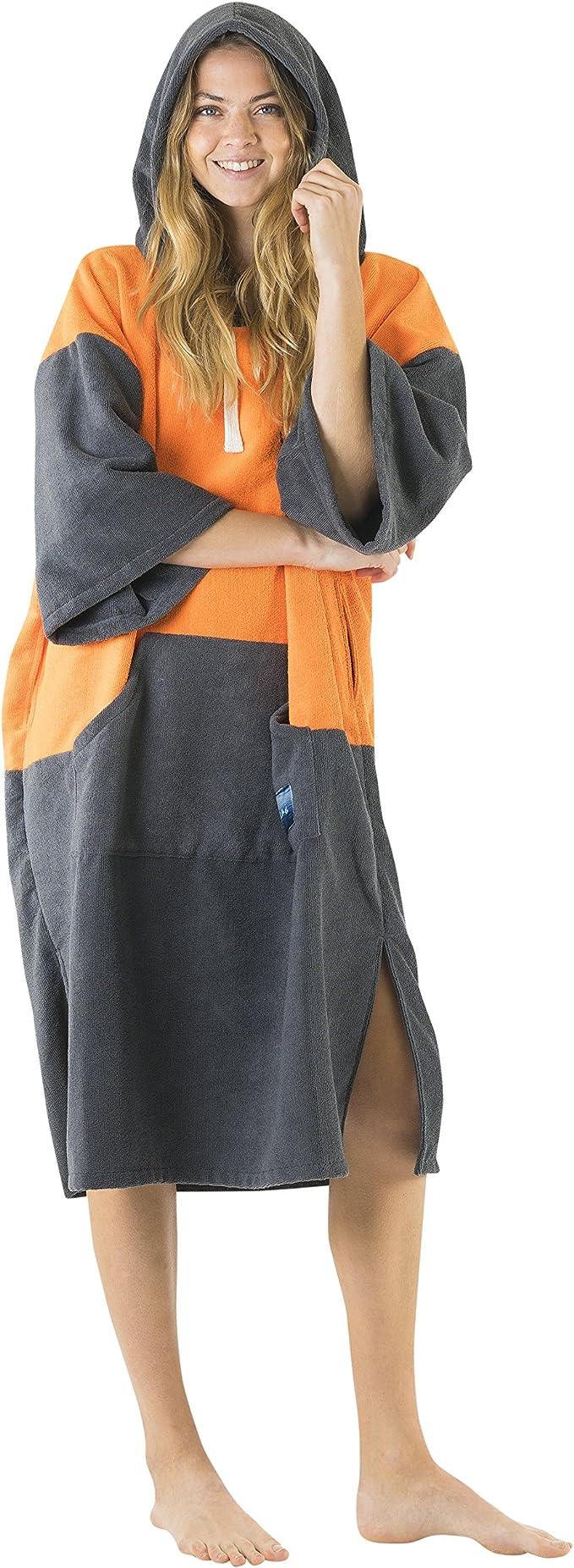 Poncho /à Capuche en Impression Poches Larges avec Fermeture /Éclair pour la Plage Robe pour Se Changer /à lExt/érieur Vivida Lifestyle Serviette avec Ouvertures sous Les Bras