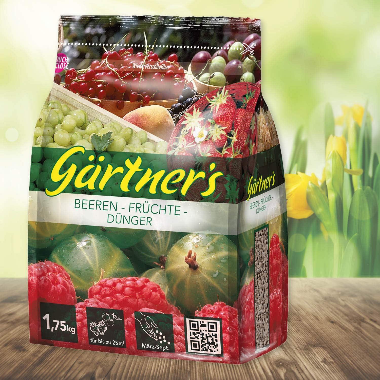 G/ärtner/'s NPK D/ünger f/ür Beeren und Fr/üchte 1,75 kg I Gesundes Wachstum f/ür Beerenstr/äucher und Fruchtstr/äucher I NPK Pflanzend/ünger 9+4+8 I F/ür bis zu 30 m/²