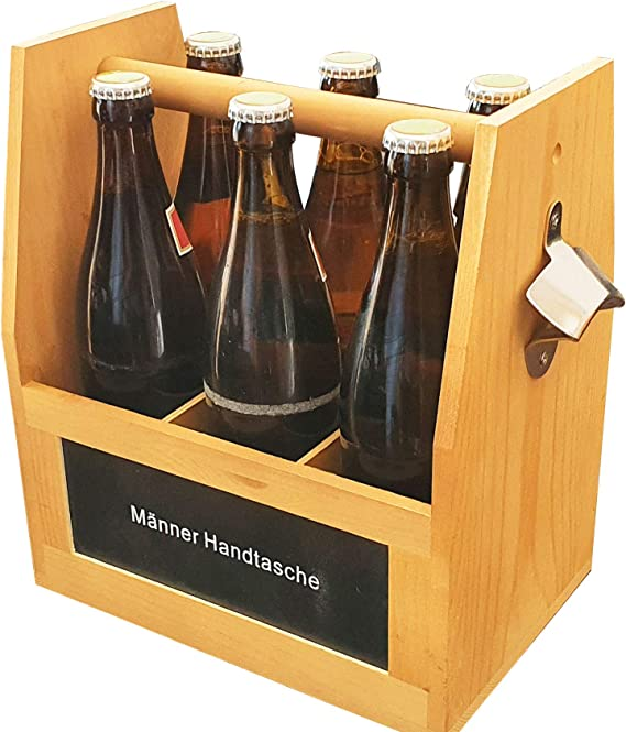 Bierträger aus Holz mit Öffner Aufruck Männer-Handtasche 6 Flaschen NEU 503344
