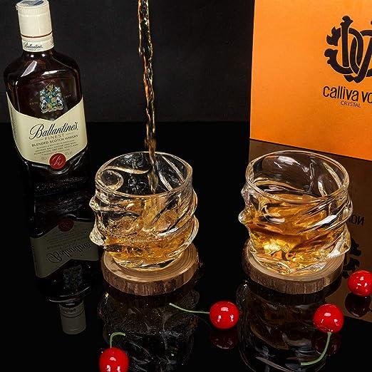 calliva von Verres et Carafe /à Whisky 5 Pi/èces 750 ML Bouteille avec 4 Verres /à Whiskey en Cristal sans Plomb 300 ML