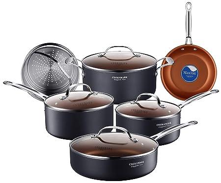 Cooksmark - Juego de 10 ollas y sartenes antiadherentes de cerámica de cobre para inducción, con tapas de cristal y inserto de vapor, PTFE apto para horno, ...