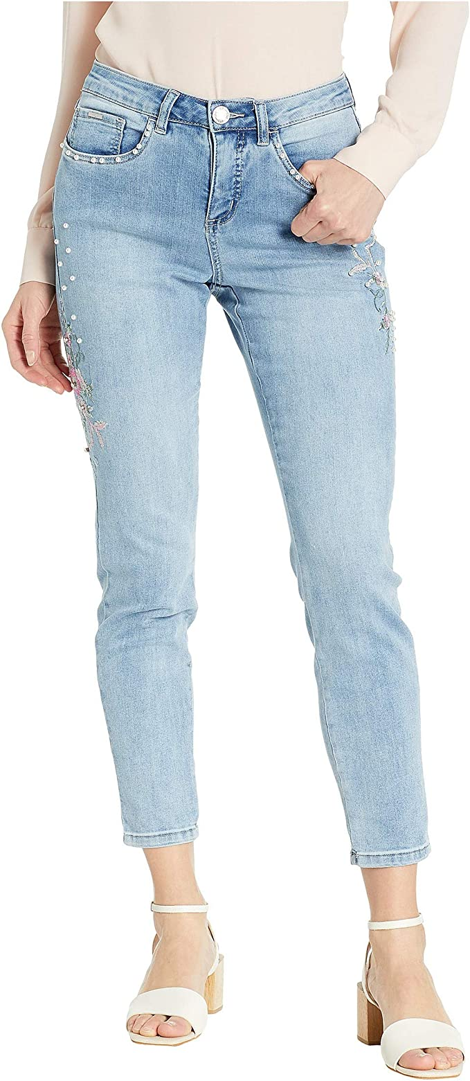 FDJ French Dressing Jeans Womens Olivia Slim Ankle Textured Floral Detail in Cool Blue