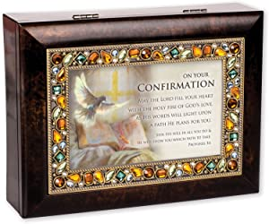 Cottage Garden Your Confirmation Amber Earth Tone Jewelry Music Box Plays How Great Thou Art