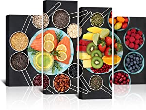 KLVOS 4 Piece Kitchen Canvas Wall Art Colorful Multicolored Fresh Fruits and Grain Painting Print Healthy Food from Garden Modern Dining Room Home Art Decor Stretched and Framed Ready to Hang