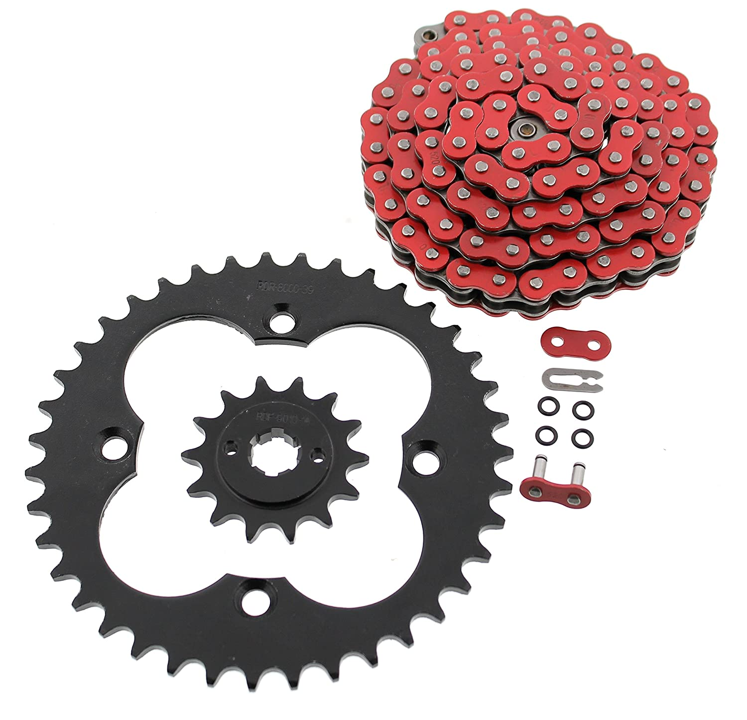 1986 1987 Fits Honda TRX250R TRX 250R Red O-Ring Chain and Black Sprocket 14//39 98L