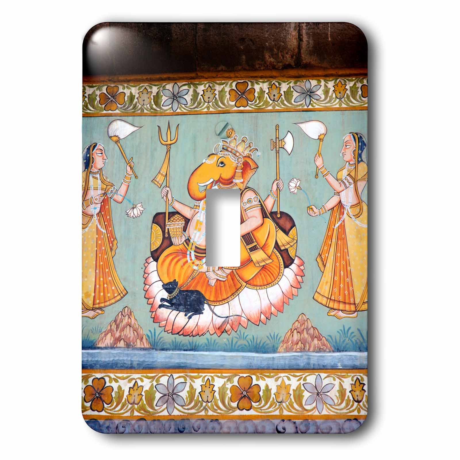 3dRose lsp_188254_1 Mural Painted On The Wall, Mehrangarh Fort, Jodhpur, Rajasthan, India. - Single Toggle Switch