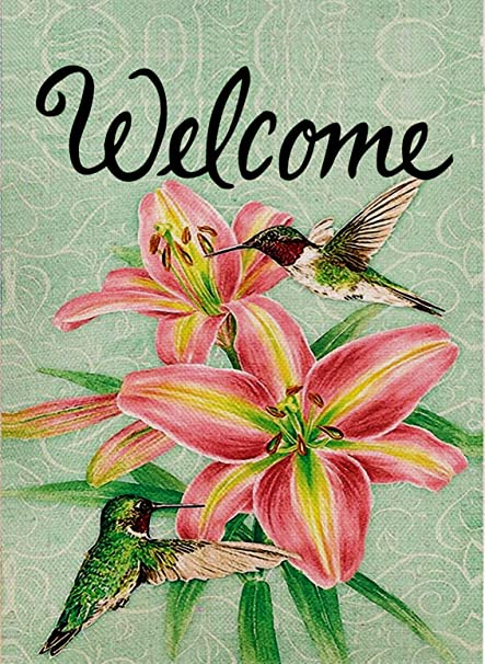 Dyrenson Home Decorative Outdoor Welcome Quote Hummingbird Garden Flag  Double Sided, Floral Lily House Yard