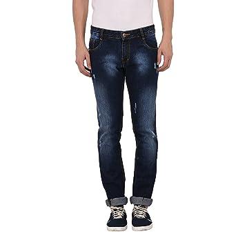 STUDIO NEXX Men's Distressed Slim fit Jeans  Dark Blue