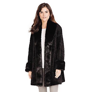 698b92090 Donna Salyers' Fabulous-Furs Black Fox & Persian Lamb Tuxedo Faux Fur Coat (