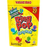 Ring Pop Individually Wrapped Bulk Lollipop Variety Party Pack – 20 Count Lollipop Suckers w/ Assorted Flavors - Fun Candy fo