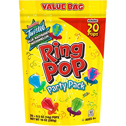 Ring Pop Individually Wrapped Bulk Lollipop Variety Party Pack 20 Count Lollipop Suckers W Assorted Flavors Fun Candy For Birthdays And Celebrations Grocery Gourmet Food