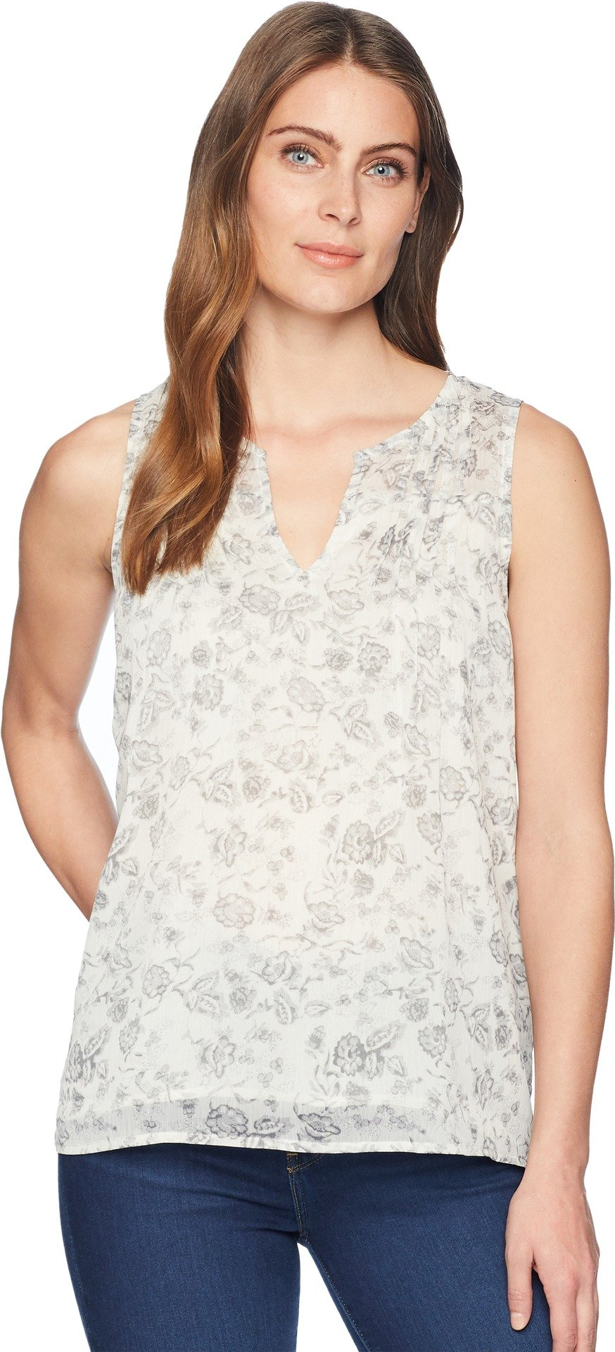 Lucky Brand Women's Floral Printed Tank Top, Grey/Multi, L