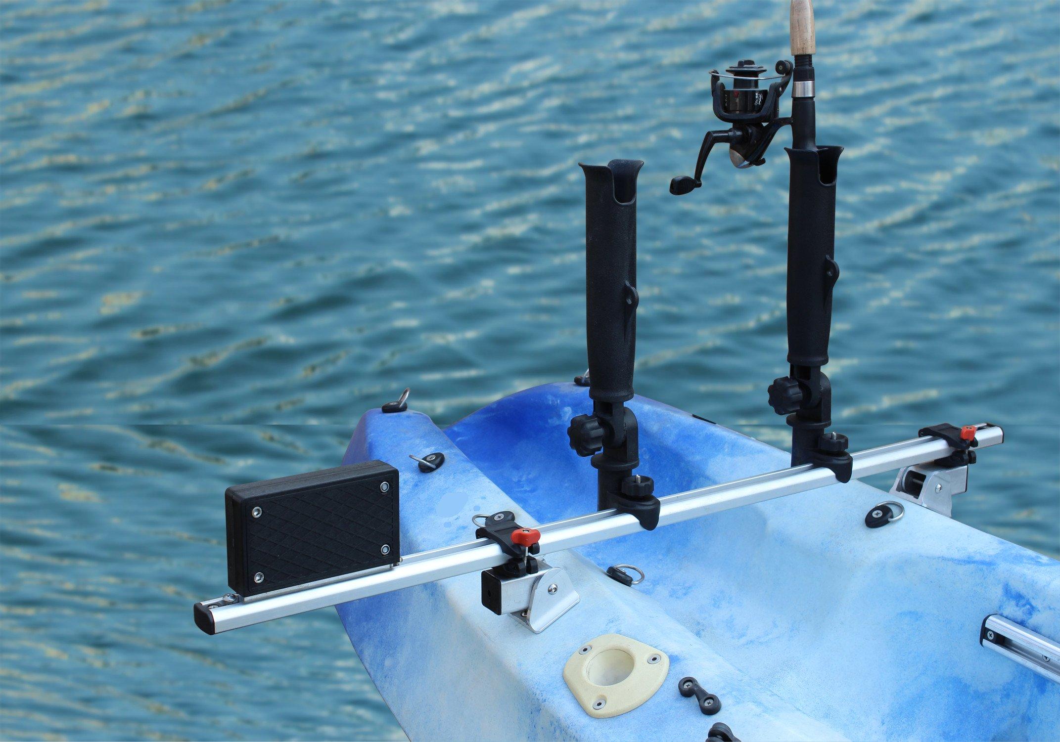 Brocraft Kayak Trolling Motor Mount Universal + Two Rocket Launcher Rod Holder
