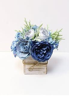 Amazon hydrangea silk flower arrangement lavender blue home sweet home deco 8 silk rose peony hydrangea mixed flower arrangement w wood mightylinksfo