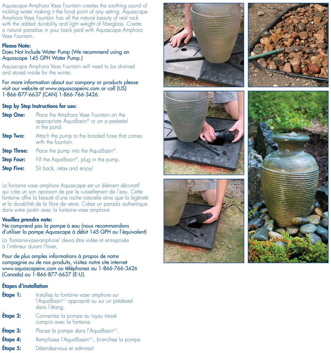 Amazon.com : Aquascape 98923 Amphora Vase Water Fountain Kit With Pump And  Basin For Landscape And Gardens, 16 Inches Tall : Decorative Vases : Garden  U0026 ...