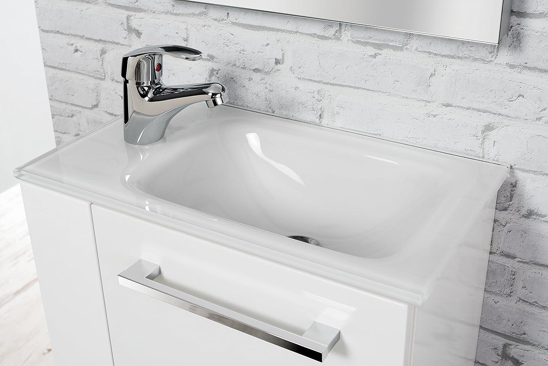 fackelmann glasbecken gaste wc waschtisch aus glas masse b x h x t ca 45 x 10 x 25 cm hochwertiges waschbecken furs badezimmer farbe weiss