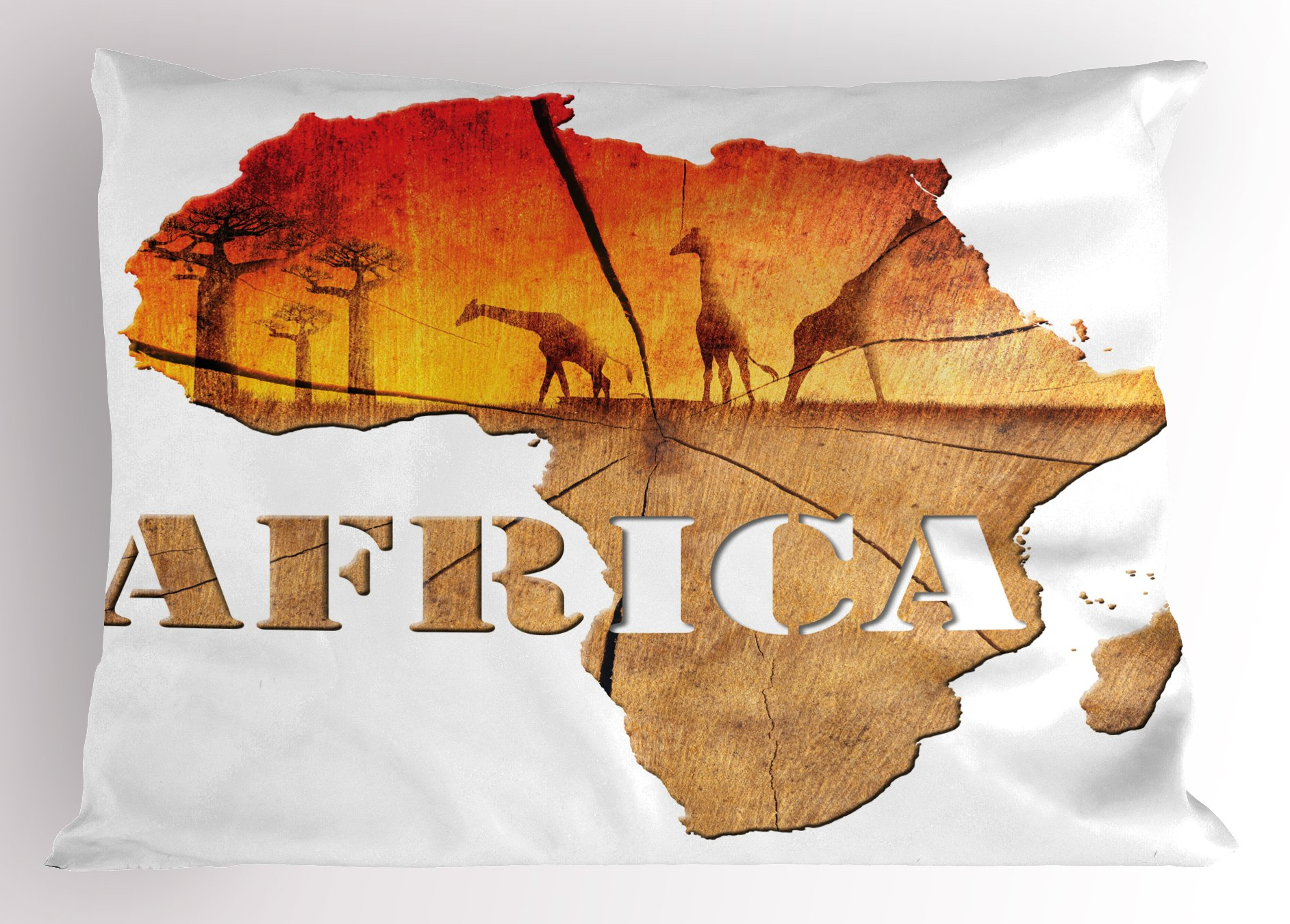 Lunarable African Pillow Sham, Africa Map with Wood Tree Texture and Giraffe Figures Fantasy Spiritual Continent, Decorative Standard Size Printed Pillowcase, 26 X 20 inches, Orange Tan