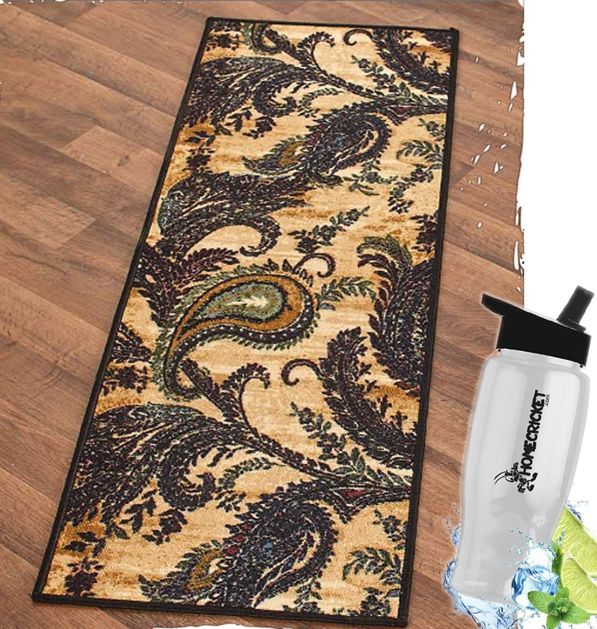 Gift Included- Decorative High-Traffic Floor Rugs and Runners Paisley Decor Nylon W/Latex Backing + Free Bonus Water Bottle by Homecricket (Runner, 20'' x 59'')