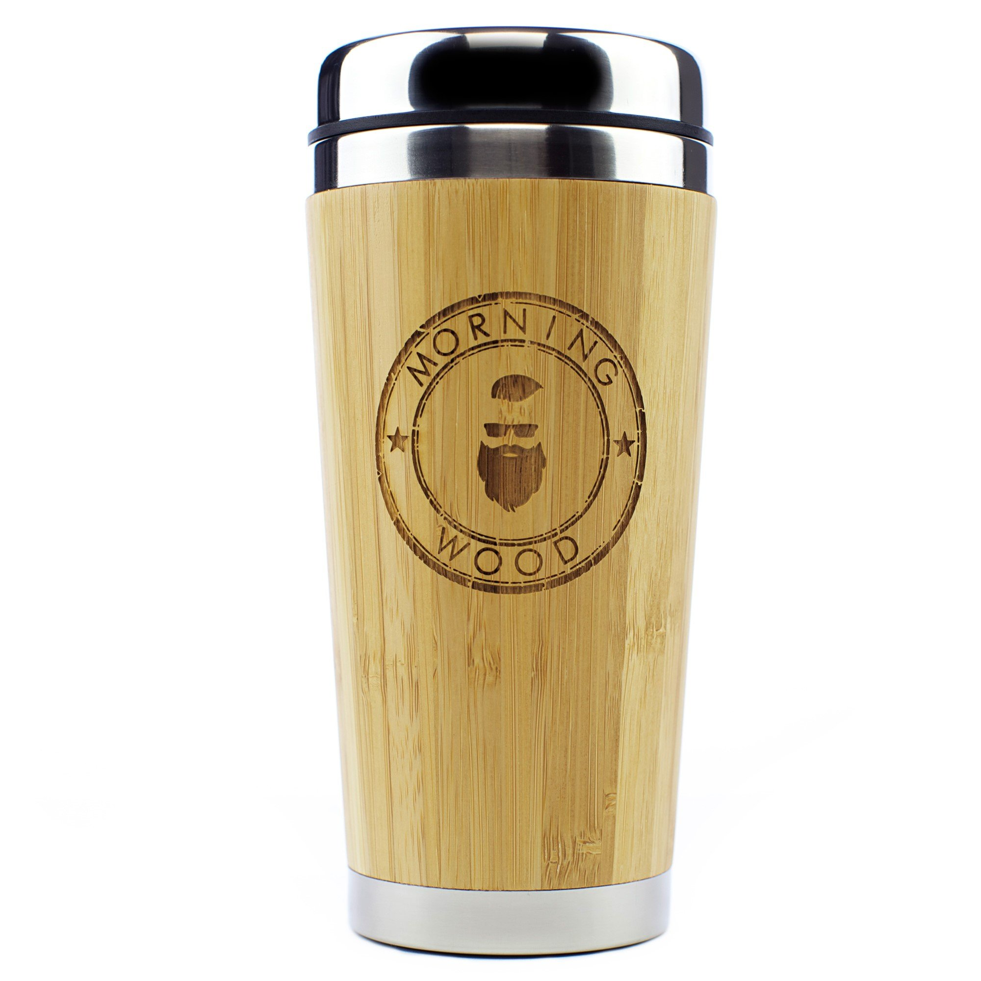 Morning Wood Premium Bamboo Travel Coffee Mug, Coffee Cup Thermos with QuickSeal Lid, Stainless Steel Insulated Tumbler 16oz.