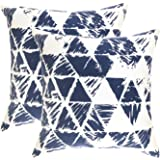 TreeWool, (Pack of 2) Ikat Triangle Geometric Accent Throw Pillow Covers in Cotton Canvas (18 x 18 Inches; Navy Blue & White)
