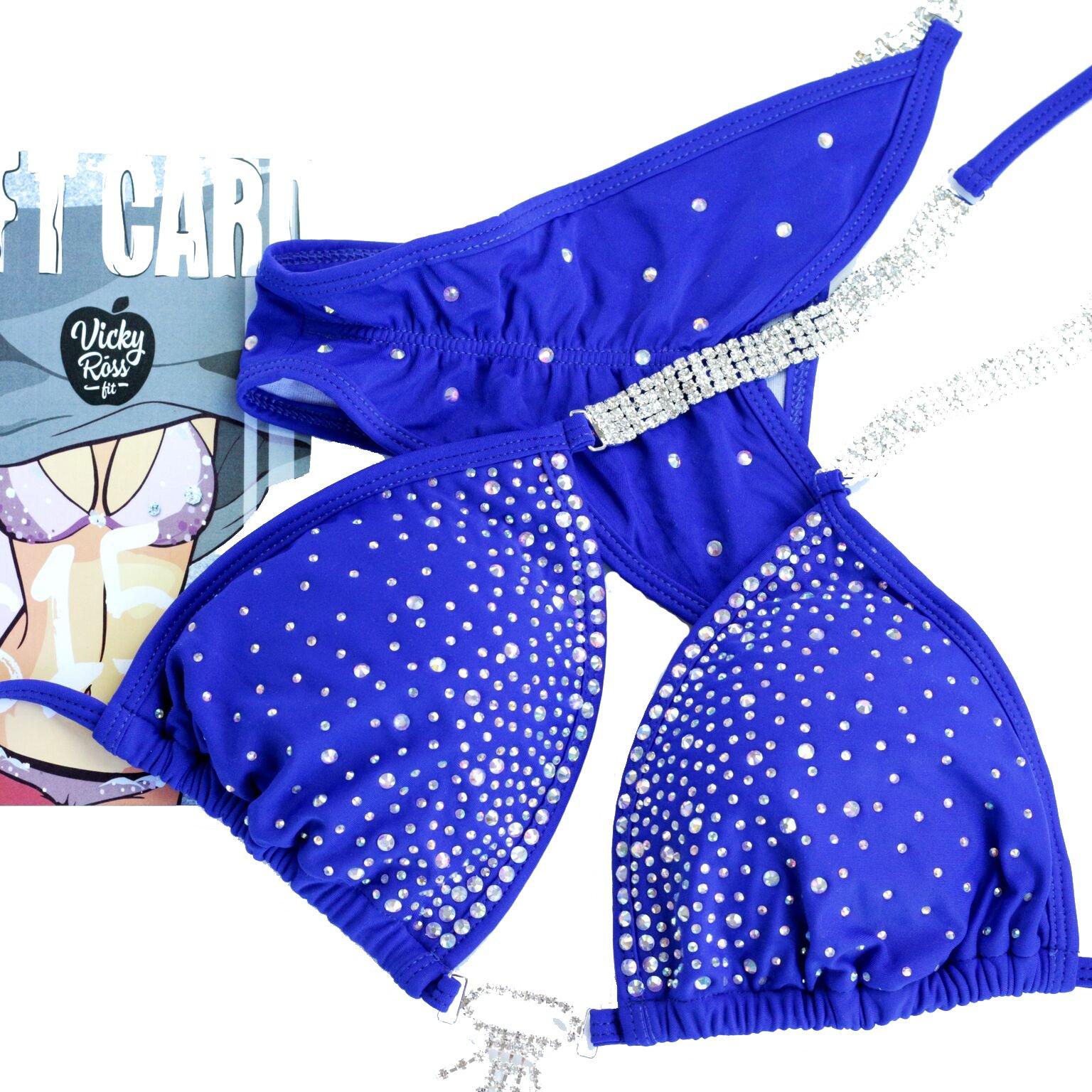 Pro Handmade Designer Competition Bikini Suit For Women   NPC IFBB Crystal Quick Ship Posing Suit   Brazilian Scrunch Bikini   Sapphire Blue (A-B-C/Hips 34''-37'', Sapphire Blue)