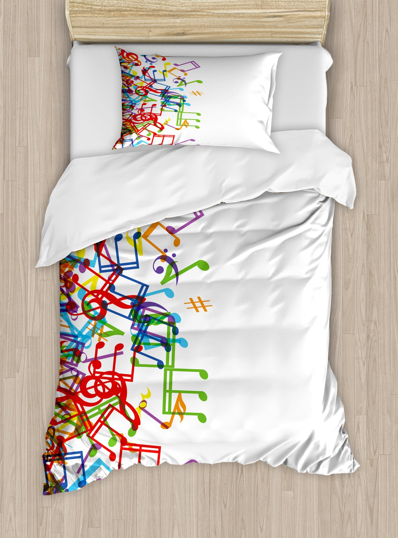 Ambesonne Colorful Duvet Cover Set Twin Size, Trippy Art Style Music Notes with Clef Rhythm Tempo Melody Harmony Print, Decorative 2 Piece Bedding Set with 1 Pillow Sham, Multicolor White
