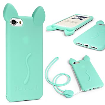 Urcover Funda Apple iPhone 6 Plus / 6s Plus Orejas de Gato para Mujer/Niña Carcasa Silicona Flexible Gato Kitty Cat Cuerda para Colgar Seguridad para ...