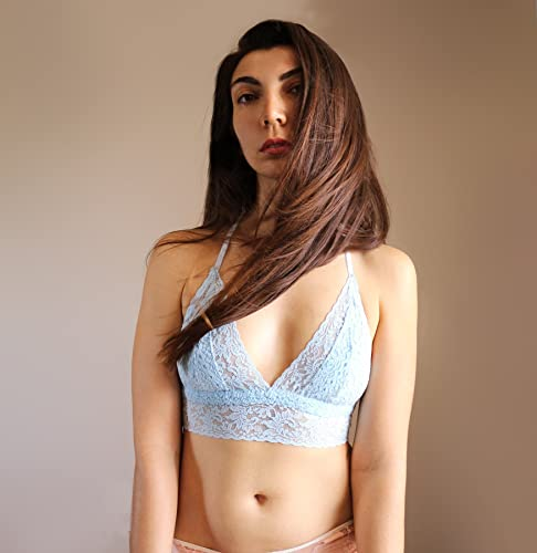 808d5f6be9f Amazon.com  Light Blue Lace Bralette. Triangle Back Halter Wireless Bra Top.  Bridal Lingerie  Handmade