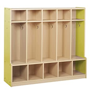 Colorful Essentials 5-Section Laminate Coat Locker with Bench, Shoe Storage Cubbies, Hooks for Backpacks and Hats; Children's Furniture for Classroom, Preschool, Daycare, Home Learning - Maple/Yellow