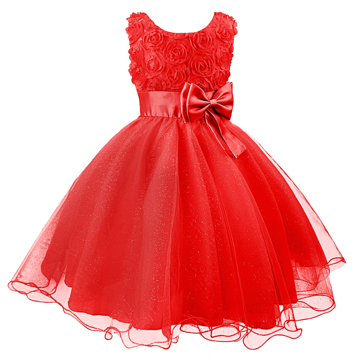 Discoball Girls Flower Dress Formal Wedding Bridesmaid Party Christening Dress Princess Lace Dress for Kids QYT Dress-51133