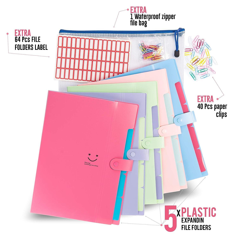 5 Pockets Expanding File Folders | Accordion Document & Paperwork  Organizer, School & Office Supplies | A4 Letter Size, Button Closure  |Storage