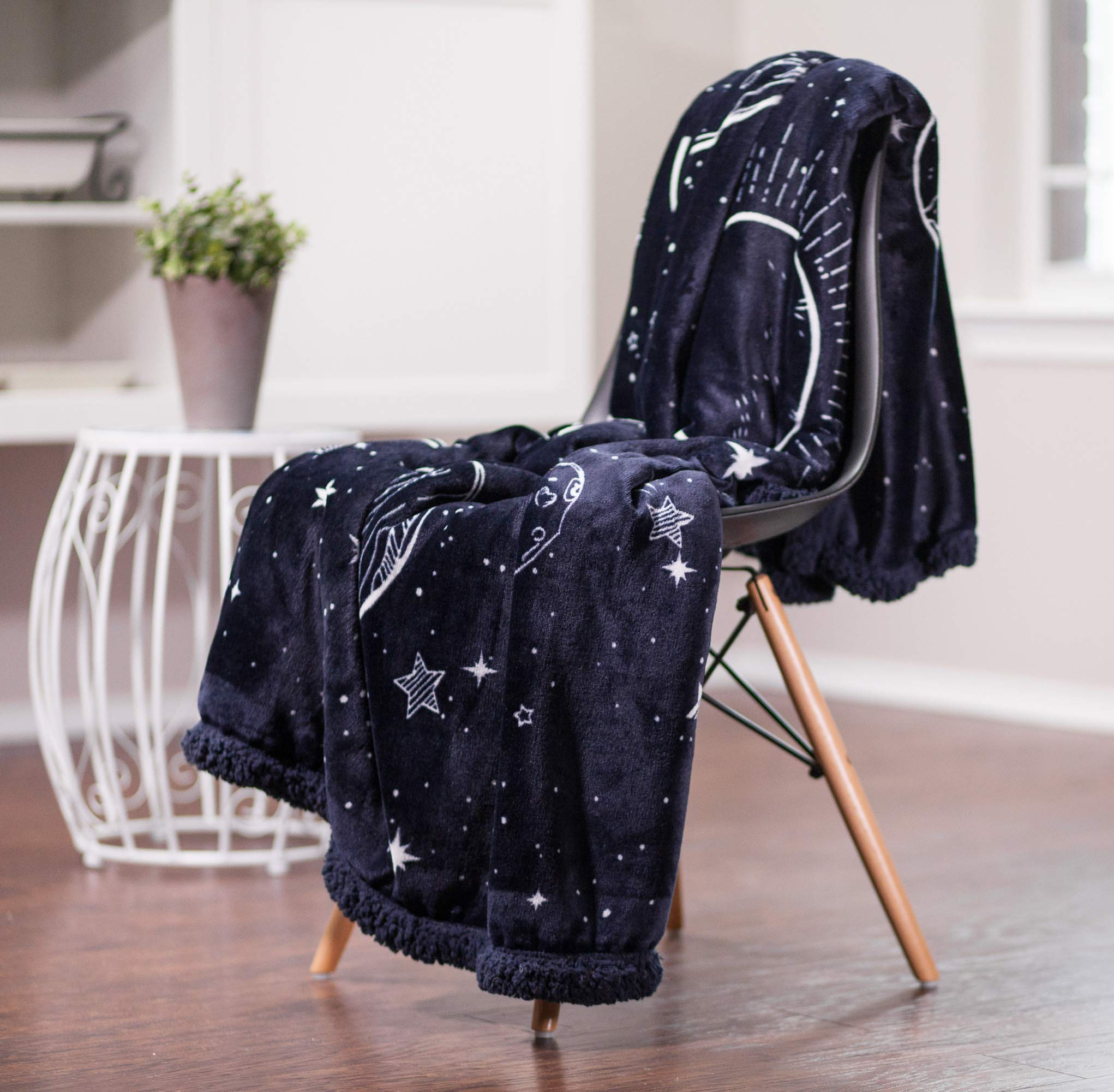Chanasya Super Soft Solar System Galaxy Star Space Print Throw Blanket| Featuring All Nine Planets Orbiting The Sun Including Pluto Dark Navy Charcoal Reversible Blanket for Bed Couch Chair -DarkNavy by Chanasya (Image #5)