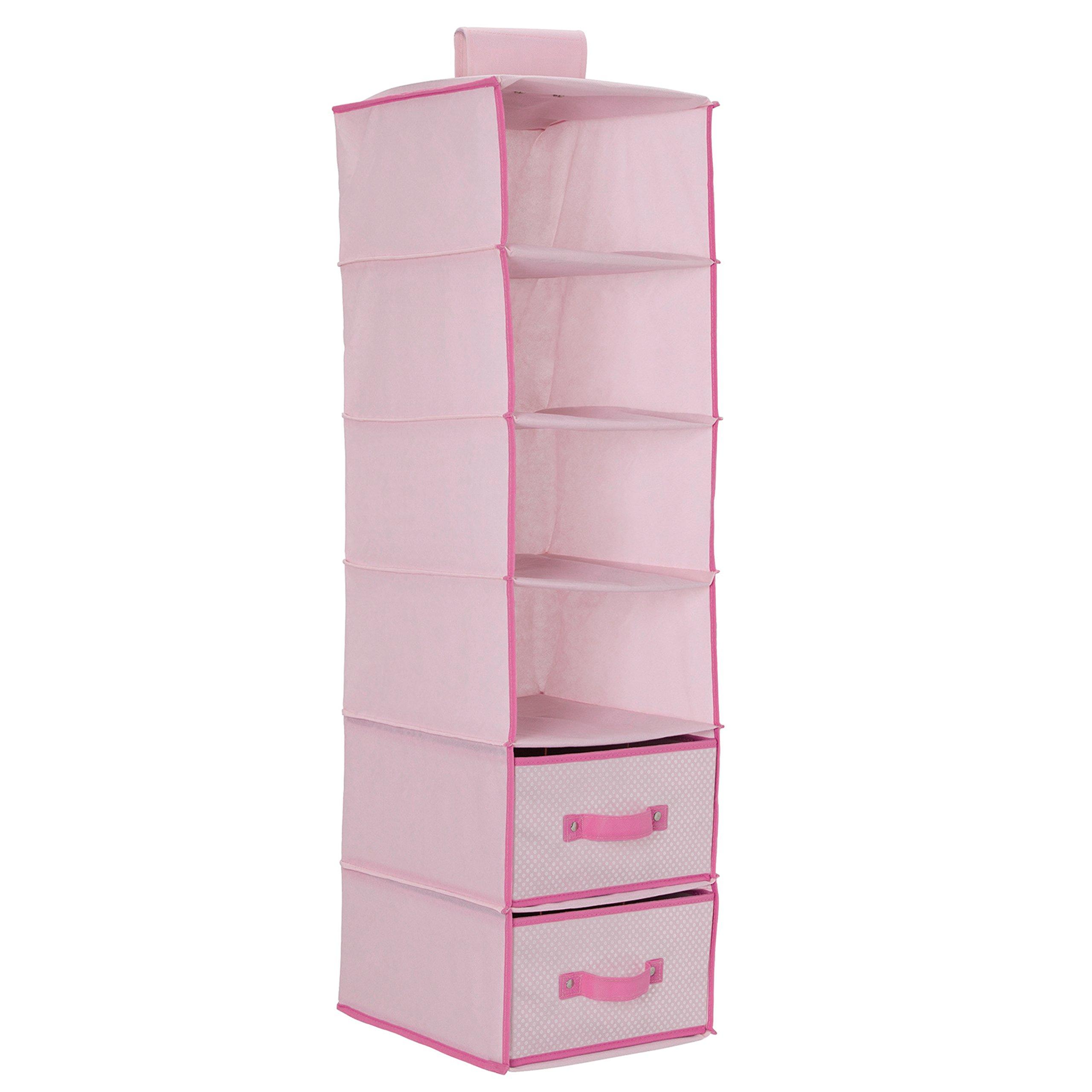 Delta Children 6 Shelf Storage With 2 Drawers, Barely Pink