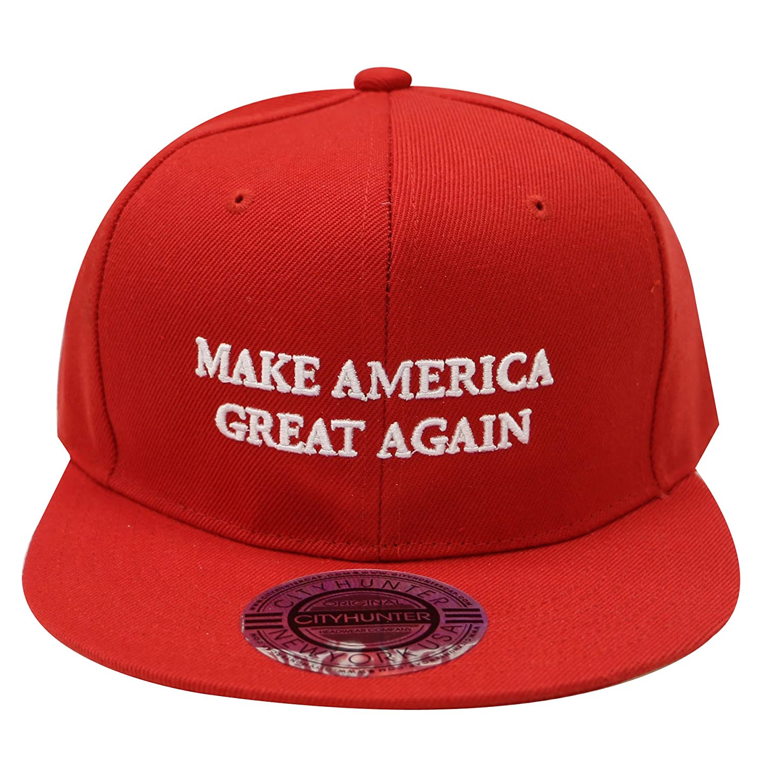 81052430cde CITY HUNTER Cf918 Trump Make America Great Again Snapback Cap Red at Amazon  Men s Clothing store