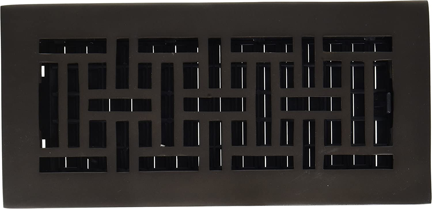 Decor Grates AJ410-RB 4-Inch by 10-Inch Oriental Floor Register, Solid Brass with Rubbed Bronze Finish