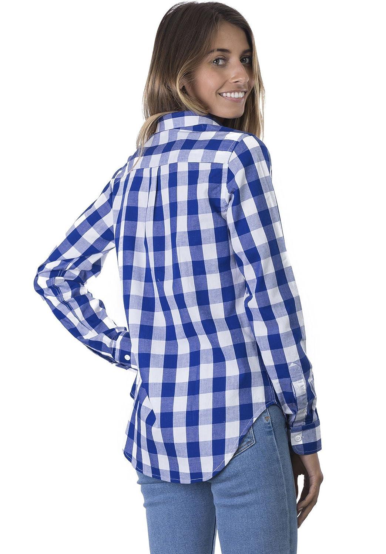 CAMIXA Gingham t-shirt för kvinnor rutig ledig långärmad knapp ner pläd topp Blau Großes