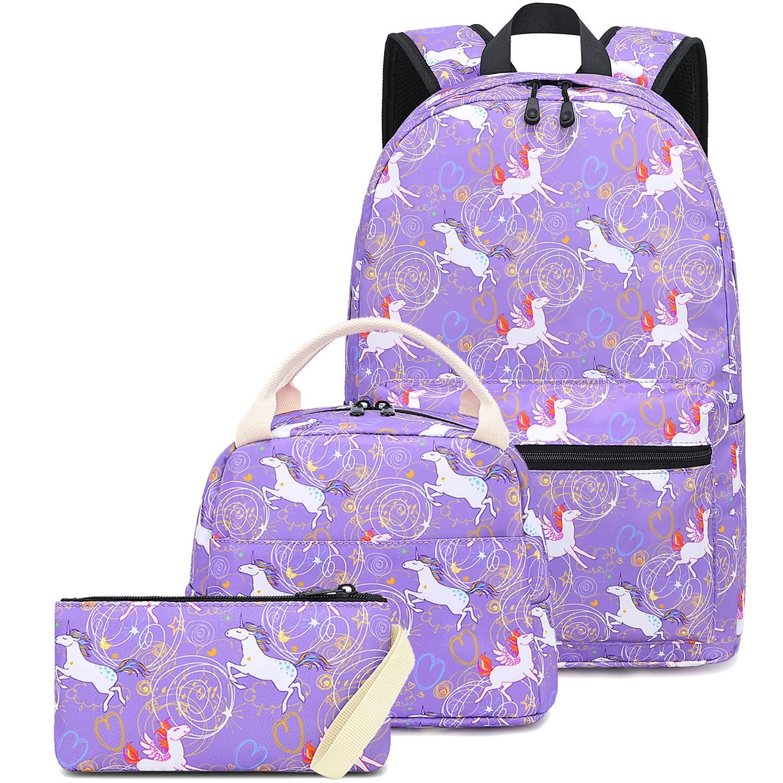 d41cb57ac7fa CAMTOP Girls School Backpack Teens Bookbag Kids School Bag Set for  Elementary (Unicorn Purple)