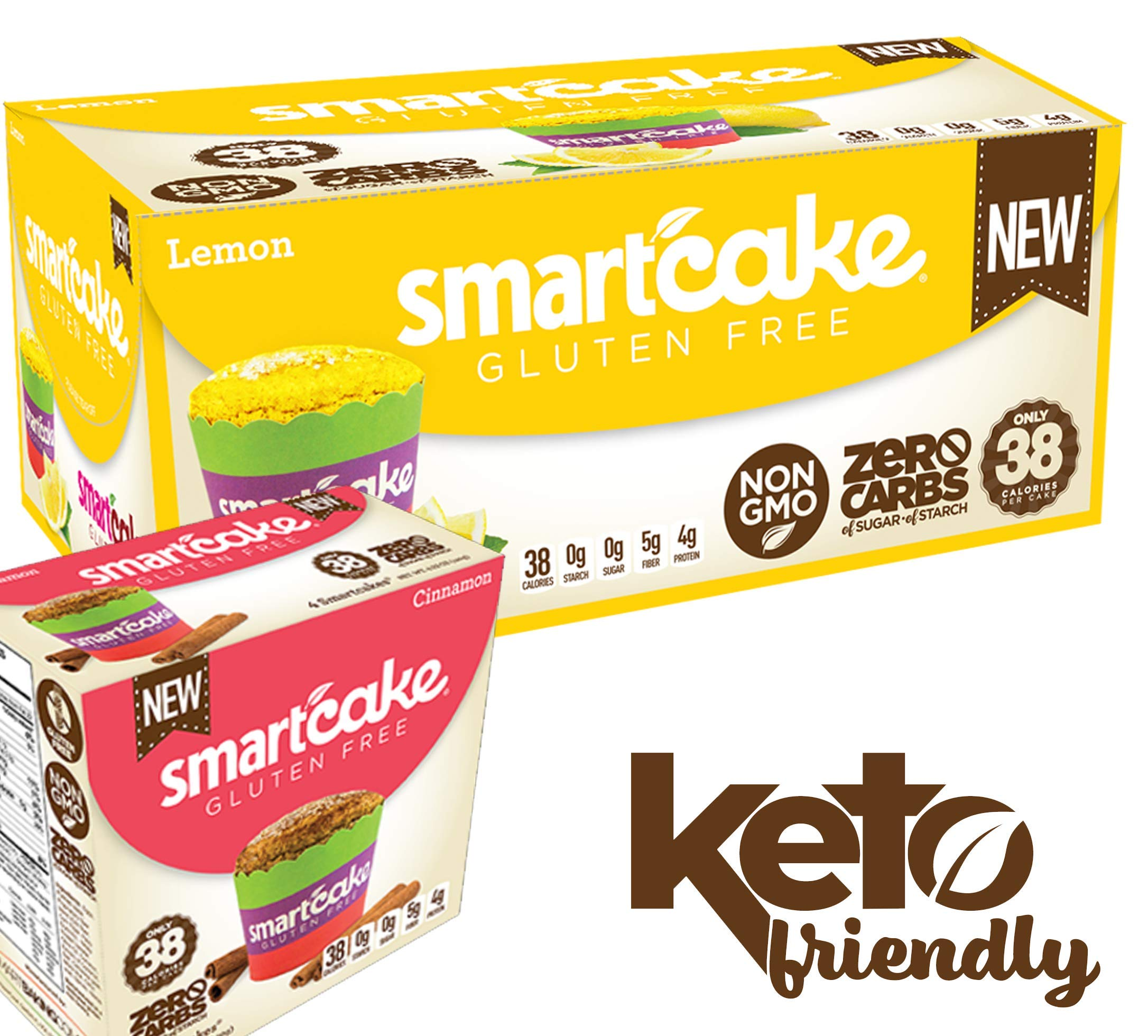 SMARTCAKE BUNDLE: 1x LEMON SHIPPER and 1x CINNAMON GOURMET BOX: GLUTEN FREE, SUGAR FREE, LOW CARB SNACK CAKES: 10x twin packs (20 individual cakes) by Smart Baking Company