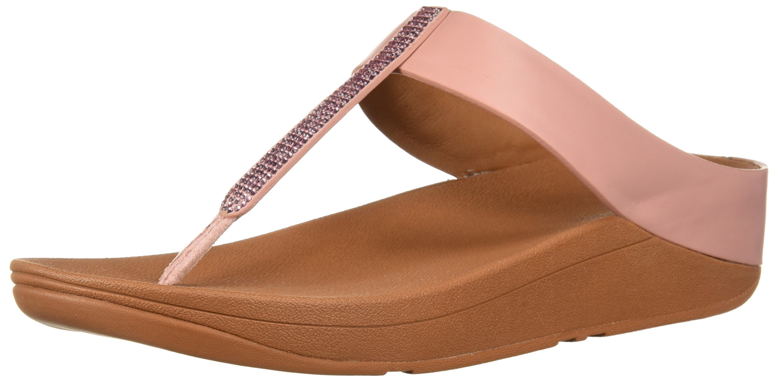 FitFlop Women's Fino Crystal Toe-Thong Sandal, Dusty Pink, 7 M US