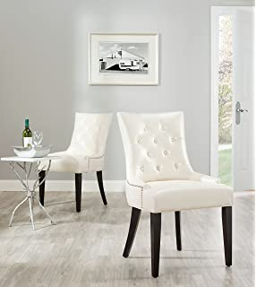 Safavieh Mercer Collection Heather Cream Leather Nailhead Dining Chair Set Of 2