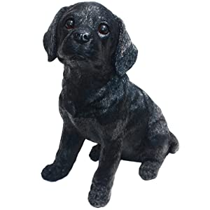 Michael Carr Designs 80098 Labrador Puppy Statue, Large, Shadow-Black