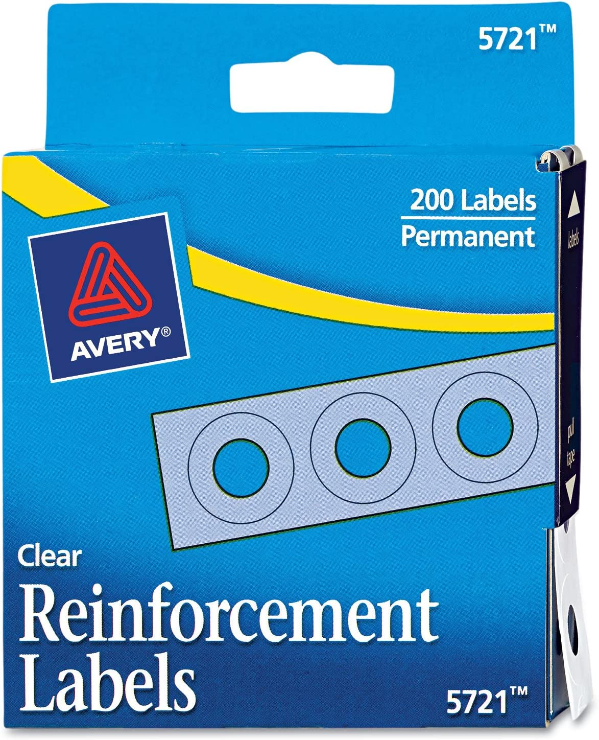"""Avery 1/4"""" Round Self-Adhesive Reinforcement Labels, Clear, Pack of 200 (5721)"""