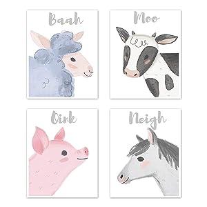 Sweet Jojo Designs Farm Animals Wall Art Prints Room Decor for Baby, Nursery, and Kids - Set of 4 - Watercolor Farmhouse Horse Cow Sheep Pig