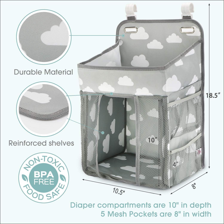 bolsa de almacenamiento de cuna apilador de pa/ñales KINJOHI Organizador de carrito de pa/ñales colgantes bolsa de colgar multifunci/ón