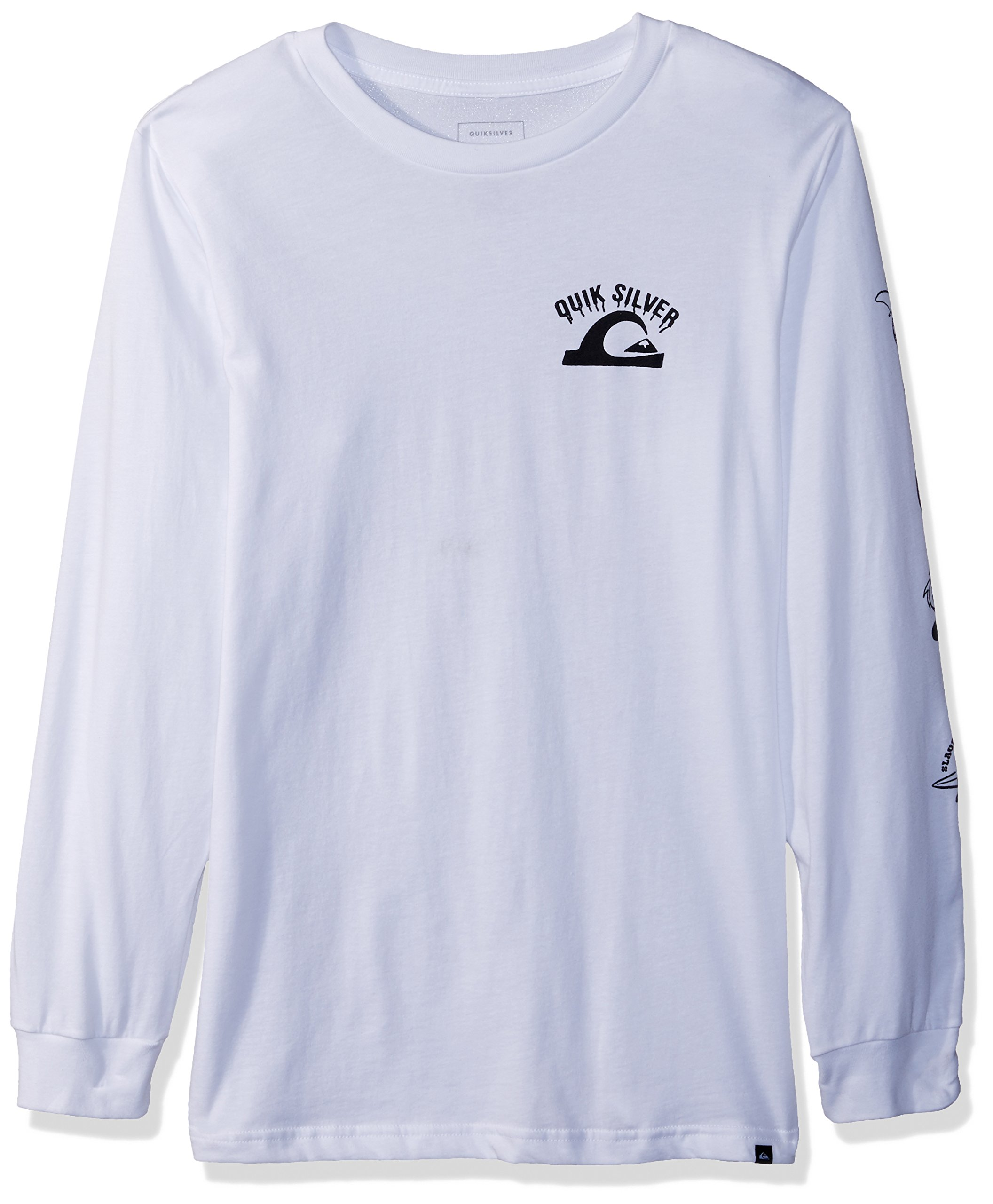 Quiksilver Big Boys' Crazy Face Youth Long Sleeve Tee Shirt, White, L/14