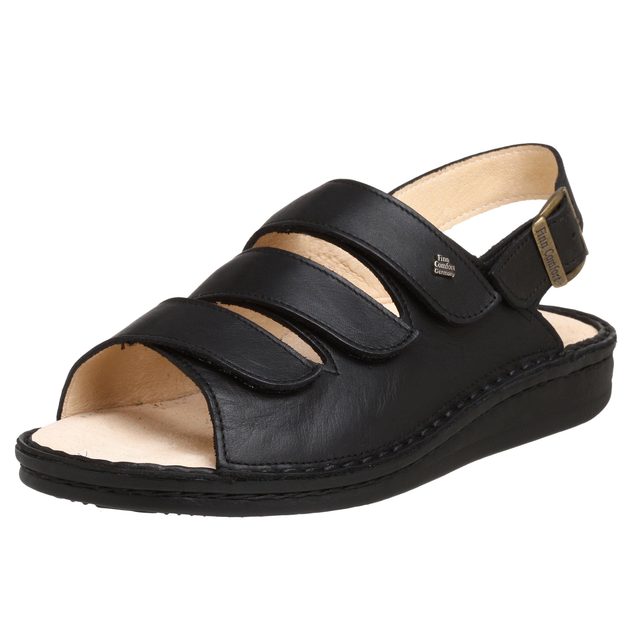 Finn Comfort Women's Sylt Sandal,Black Nappa,38 EU (US Women's 7 M)