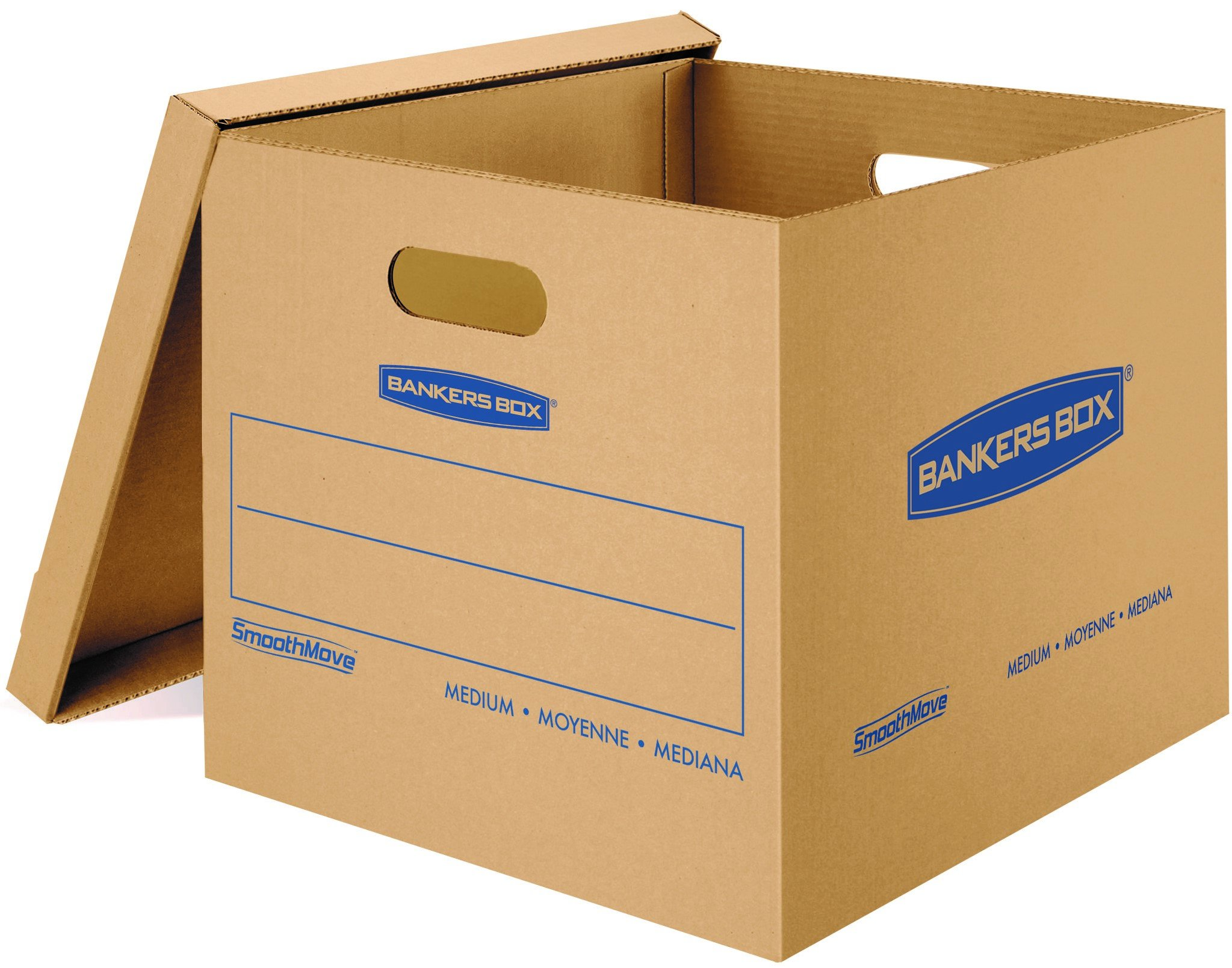 Bankers Box SmoothMove Classic Moving Boxes, Tape-Free Assembly, Easy Carry Handles, Medium, 18 x 15 x 14 Inches, 10 Pack (7717204)