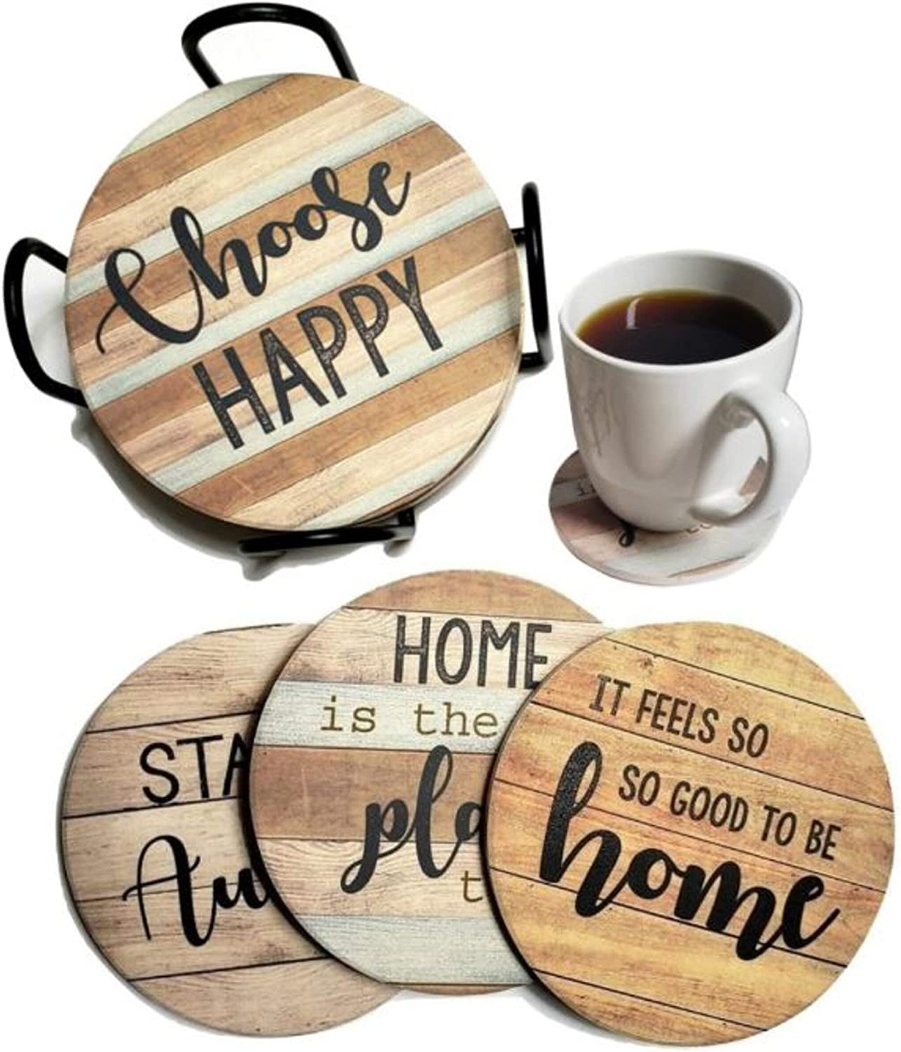 PANCHH Rustic Farmhouse Stone & Cork Coasters for Drinks, Absorbent - Set of 6 Coasters with Holder - Best Housewarming Gifts for New Home Ideas - Cute Kitchen and Coffee Table Décor & Accessories