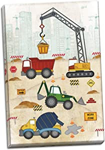 Sagebrush Fine Art Aodrable Construction Truck, Digger and Crane Print, Perfect for A Child's Room or Nursery; One 12x18in Hand-Stretched Canvas